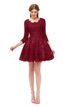 ColsBM Cass Rhubarb Bridesmaid Dresses Zipper Three-fourths Length Sleeve Baby Doll Cute Mini Lace