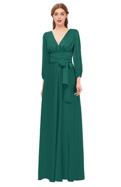 ColsBM Martha Bayberry Bridesmaid Dresses Floor Length Ruching Zip up V-neck Long Sleeve Glamorous