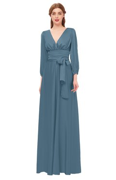 ColsBM Martha Bluestone Bridesmaid Dresses Floor Length Ruching Zip up V-neck Long Sleeve Glamorous