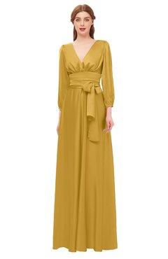 a789a9dada ColsBM Martha Gold Bridesmaid Dresses Floor Length Ruching Zip up V-neck  Long Sleeve Glamorous