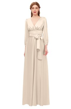 609938d89c ColsBM Martha Linen Bridesmaid Dresses Floor Length Ruching Zip up V-neck  Long Sleeve Glamorous