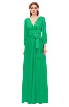ColsBM Martha Mint Bridesmaid Dresses Floor Length Ruching Zip up V-neck Long Sleeve Glamorous