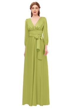 ColsBM Martha Palm Bridesmaid Dresses Floor Length Ruching Zip up V-neck Long Sleeve Glamorous