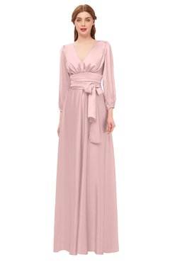 64cf7a9d9eee ColsBM Martha Pastel Pink Bridesmaid Dresses Floor Length Ruching Zip up  V-neck Long Sleeve
