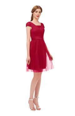 ColsBM Izzy Maroon Bridesmaid Dresses Zip up Pleated Mini Short Sleeve A-line Elegant