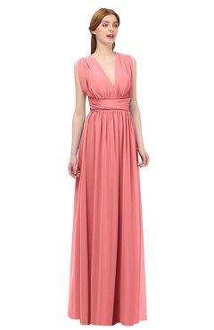6133d96178ba ColsBM Freya Coral Bridesmaid Dresses Floor Length V-neck A-line Sleeveless  Sexy Zip