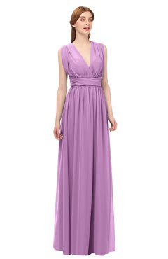 92dc8e67d3c2 ColsBM Freya Orchid Bridesmaid Dresses Floor Length V-neck A-line  Sleeveless Sexy Zip