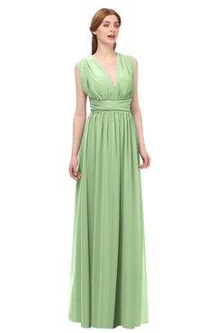 458dcf2db8ae ColsBM Freya Sage Green Bridesmaid Dresses Floor Length V-neck A-line  Sleeveless Sexy
