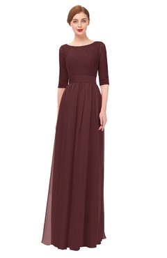 ColsBM Lola Burgundy Bridesmaid Dresses Zip up Boat A-line Half Length Sleeve Modest Lace