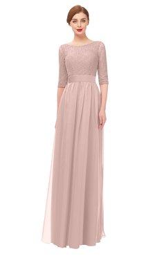 6545519a44 ColsBM Lola Dusty Rose Bridesmaid Dresses Zip up Boat A-line Half Length  Sleeve Modest