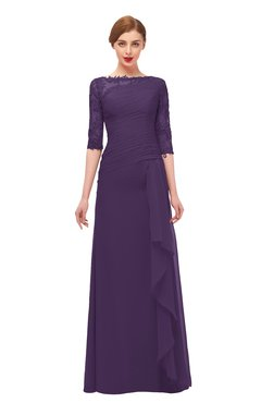 ColsBM Lorin Violet Bridesmaid Dresses Column Floor Length Zipper Elbow Length Sleeve Lace Mature