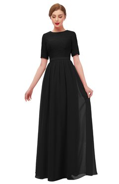 ColsBM Ansley Black Bridesmaid Dresses Modest Lace Jewel A-line Elbow Length Sleeve Zip up