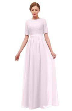 ColsBM Ansley Blush Bridesmaid Dresses Modest Lace Jewel A-line Elbow Length Sleeve Zip up