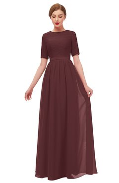 ColsBM Ansley Burgundy Bridesmaid Dresses Modest Lace Jewel A-line Elbow Length Sleeve Zip up