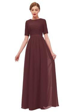ColsBM Ansley Burgundy Bridesmaid Dresses Modest Lace Jewel A-line Elbow Length Sleeve Zip up