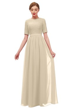 ColsBM Ansley Champagne Bridesmaid Dresses Modest Lace Jewel A-line Elbow Length Sleeve Zip up