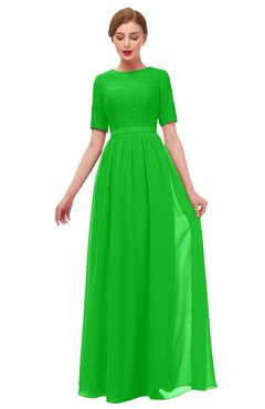 ColsBM Ansley Classic Green Bridesmaid Dresses Modest Lace Jewel A-line Elbow Length Sleeve Zip up