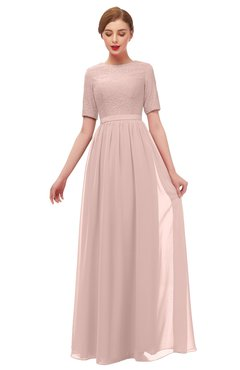 3b85ea632f1 ColsBM Ansley Dusty Rose Bridesmaid Dresses Modest Lace Jewel A-line Elbow Length  Sleeve Zip