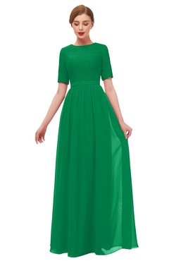 ColsBM Ansley Green Bridesmaid Dresses Modest Lace Jewel A-line Elbow Length Sleeve Zip up