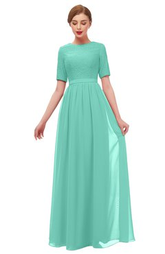 ColsBM Ansley Mint Green Bridesmaid Dresses Modest Lace Jewel A-line Elbow Length Sleeve Zip up