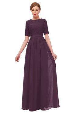 ColsBM Ansley Plum Bridesmaid Dresses Modest Lace Jewel A-line Elbow Length Sleeve Zip up