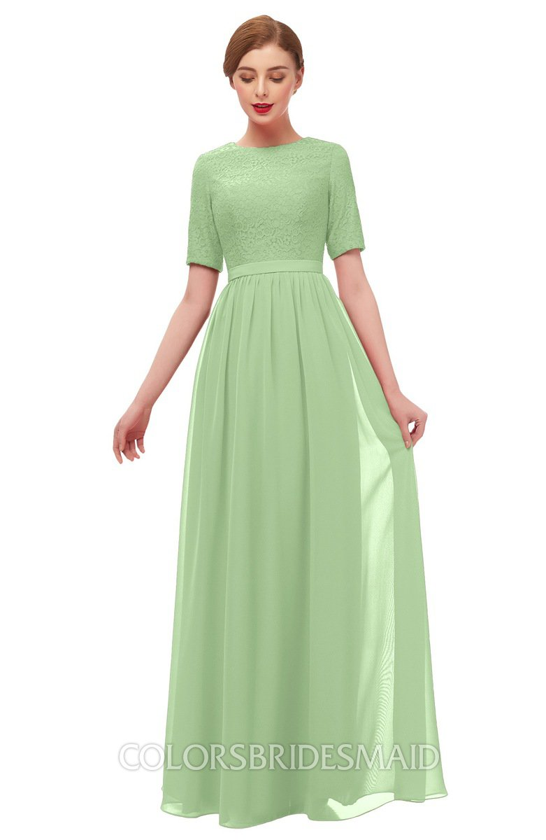 f6ec4beb54ad ColsBM Ansley Sage Green Bridesmaid Dresses Modest Lace Jewel A-line Elbow  Length Sleeve Zip