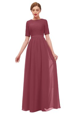 ColsBM Ansley Wine Bridesmaid Dresses Modest Lace Jewel A-line Elbow Length Sleeve Zip up