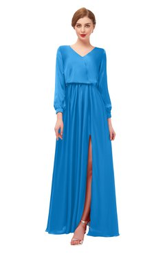 ColsBM Carey French Blue Bridesmaid Dresses Long Sleeve A-line Glamorous Split-Front Floor Length V-neck
