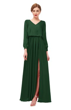 ColsBM Carey Hunter Green Bridesmaid Dresses Long Sleeve A-line Glamorous Split-Front Floor Length V-neck