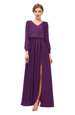 ColsBM Carey Plum Bridesmaid Dresses Long Sleeve A-line Glamorous Split-Front Floor Length V-neck