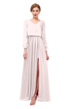 ColsBM Carey Rosewater Pink Bridesmaid Dresses Long Sleeve A-line Glamorous Split-Front Floor Length V-neck