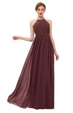 ColsBM Peyton Burgundy Bridesmaid Dresses Pleated Halter Sleeveless Half Backless A-line Glamorous