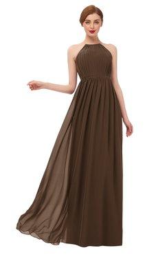 ColsBM Peyton Chocolate Brown Bridesmaid Dresses Pleated Halter Sleeveless Half Backless A-line Glamorous