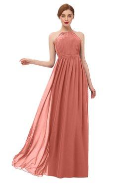 ColsBM Peyton Crabapple Bridesmaid Dresses Pleated Halter Sleeveless Half Backless A-line Glamorous