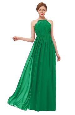 ColsBM Peyton Green Bridesmaid Dresses Pleated Halter Sleeveless Half Backless A-line Glamorous