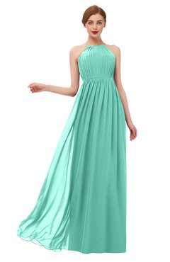 ColsBM Peyton Mint Green Bridesmaid Dresses Pleated Halter Sleeveless Half Backless A-line Glamorous