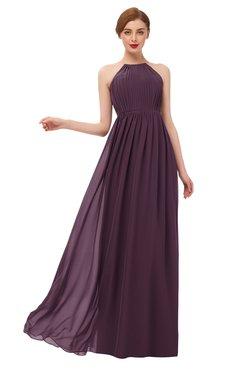 ColsBM Peyton Plum Bridesmaid Dresses Pleated Halter Sleeveless Half Backless A-line Glamorous