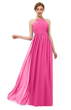 ColsBM Peyton Rose Pink Bridesmaid Dresses Pleated Halter Sleeveless Half Backless A-line Glamorous