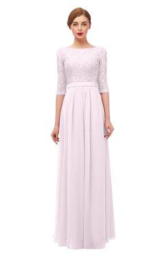 ColsBM Neriah Blush Bridesmaid Dresses Lace Antique Zipper Boat Floor Length Half Length Sleeve