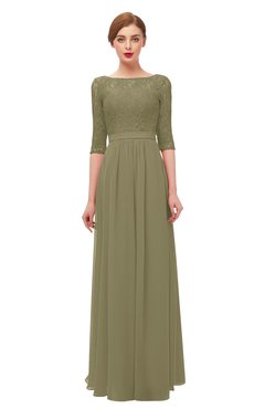 ColsBM Neriah Boa Bridesmaid Dresses Lace Antique Zipper Boat Floor Length Half Length Sleeve