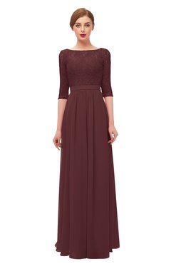 ColsBM Neriah Burgundy Bridesmaid Dresses Lace Antique Zipper Boat Floor Length Half Length Sleeve