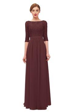 ColsBM Neriah Burgundy Bridesmaid Dresses Lace Antique Zipper Boat Floor Length Half Length Sleeve