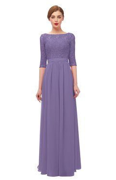 ColsBM Neriah Lilac Bridesmaid Dresses Lace Antique Zipper Boat Floor Length Half Length Sleeve