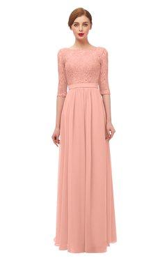 ColsBM Neriah Peach Bridesmaid Dresses Lace Antique Zipper Boat Floor Length Half Length Sleeve