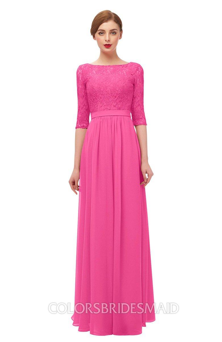914016ee39 ColsBM Neriah Rose Pink Bridesmaid Dresses Lace Antique Zipper Boat Floor  Length Half Length Sleeve