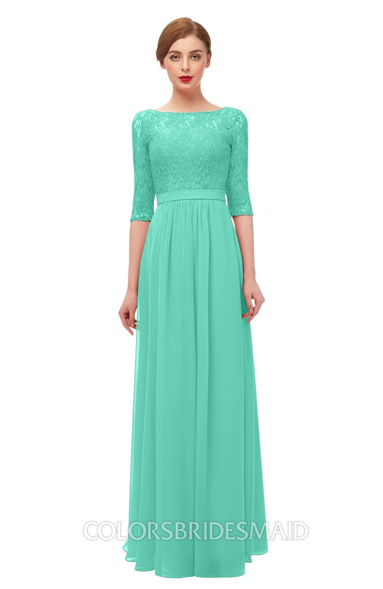 51950ba9e11 ColsBM Neriah Seafoam Green Bridesmaid Dresses Lace Antique Zipper Boat Floor  Length Half Length Sleeve
