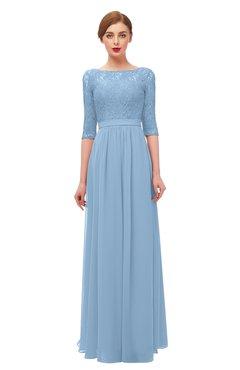 ColsBM Neriah Sky Blue Bridesmaid Dresses Lace Antique Zipper Boat Floor Length Half Length Sleeve