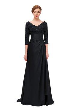 ColsBM Tatum Black Bridesmaid Dresses Luxury Zipper Three-fourths Length Sleeve Brush Train Lace V-neck