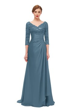 ColsBM Tatum Bluestone Bridesmaid Dresses Luxury Zipper Three-fourths Length Sleeve Brush Train Lace V-neck