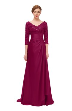 ColsBM Tatum Burgundy Bridesmaid Dresses Luxury Zipper Three-fourths Length Sleeve Brush Train Lace V-neck